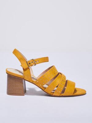 Sandales a talons cloutees jaune or femme