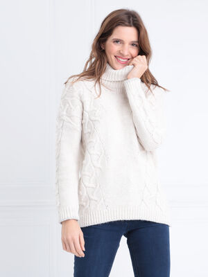 Pull manches longues col roule blanc femme