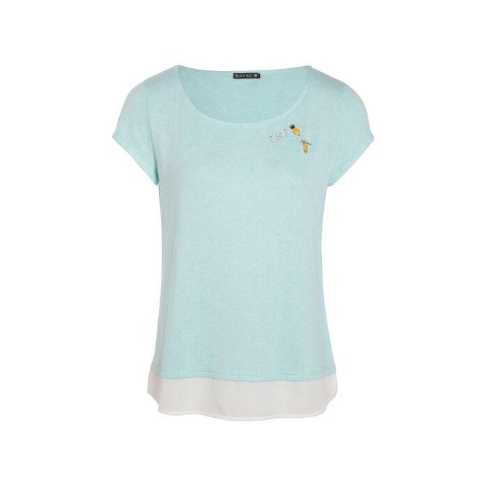 T-shirt bimatière et pin's bleu femme