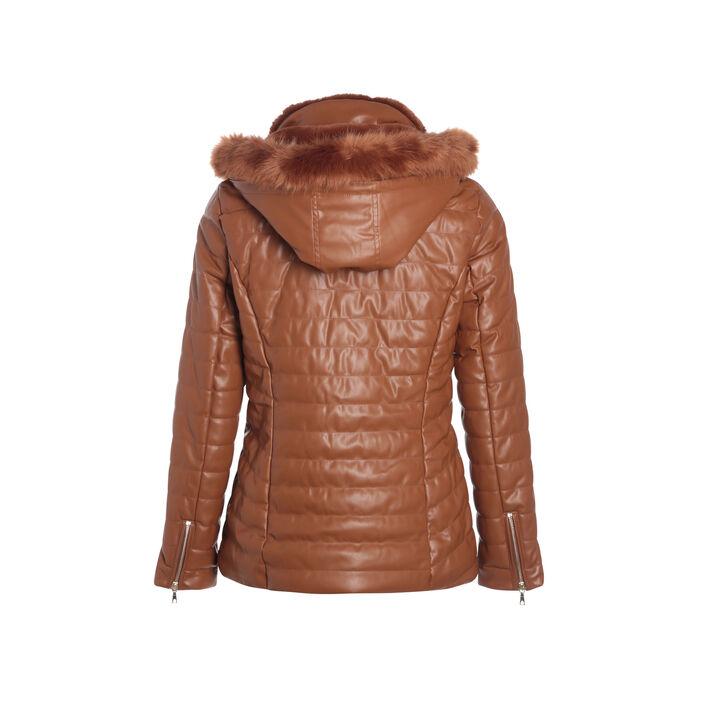 Doudoune unie avec capuche amovible marron femme