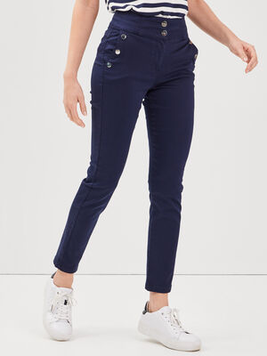 Pantalon ajuste a pont bleu marine femme