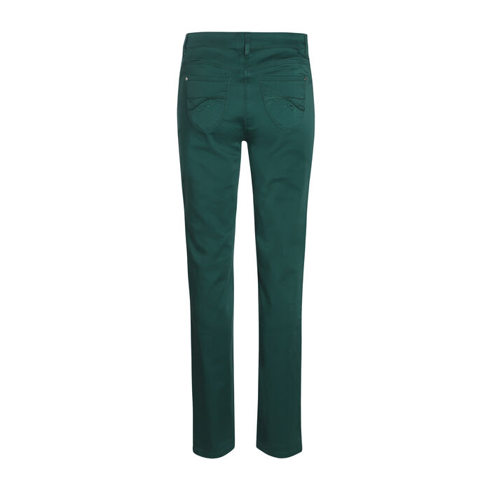 Pantalon en satin vert canard femme