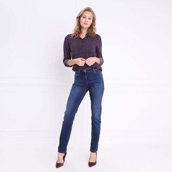 Chemise à manches longues bleu foncé femme