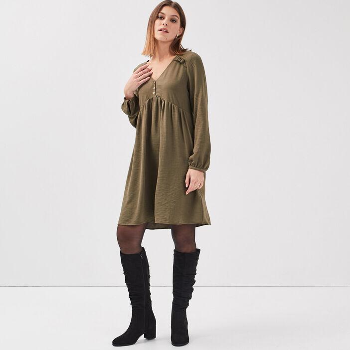 Robe évasée manches longues vert kaki femme