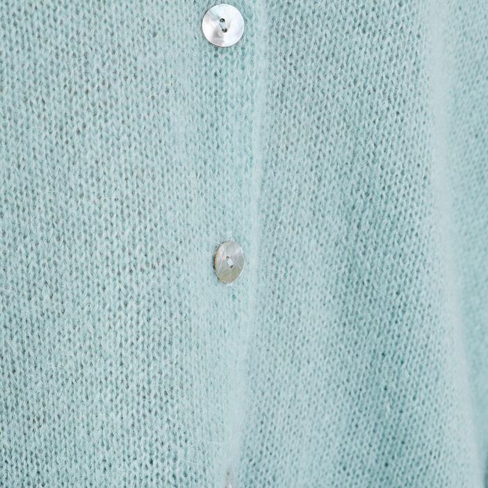 Gilet manches longues boutonné vert pastel femme