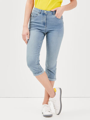 Pantacourt ajuste en jean denim stone femme