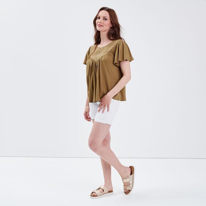 T-shirt manches courtes vert olive femme