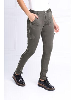 Pantalon ajuste poches a rabat vert kaki femme