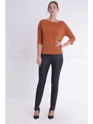 Pantalon ajuste taille basculee noir femme