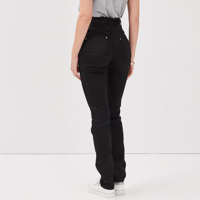 Pantalon ajusté taille haute denim noir femme