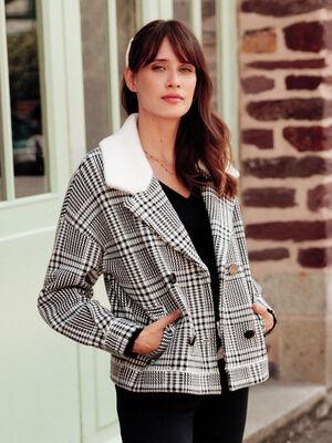Gilet droit porte manteau ecru femme