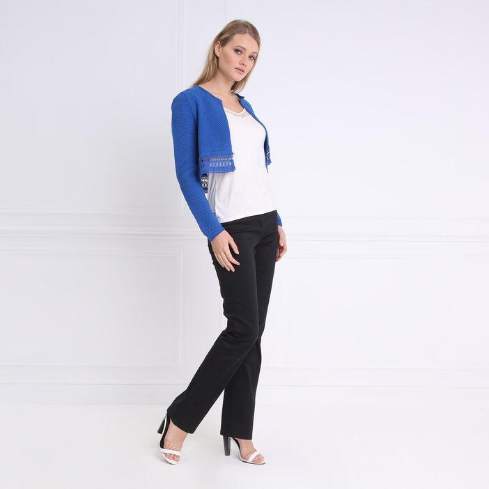 Gilet manches longues galons bleu femme