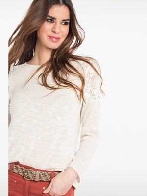T shirt avec dentelle aux epaules beige femme