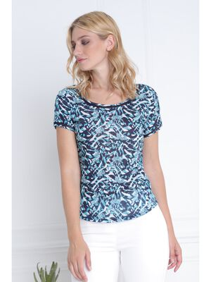 T shirt subli tigre camouflage bleu fonce femme