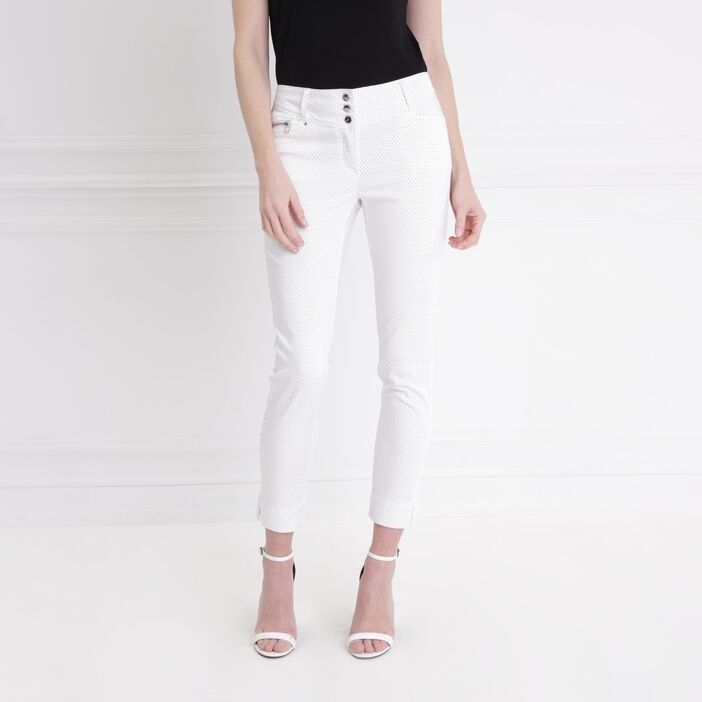 Pantalon imprimé à pois blanc femme