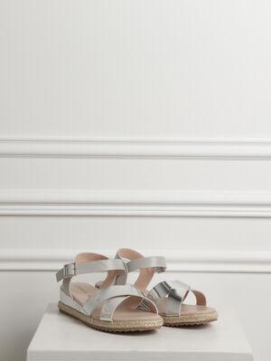 Sandales a brides effet miroir couleur argent femme