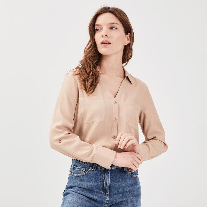 Chemise manches longues sable femme