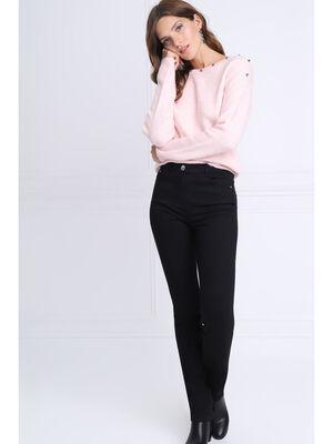 Pantalon ajuste details zip noir femme