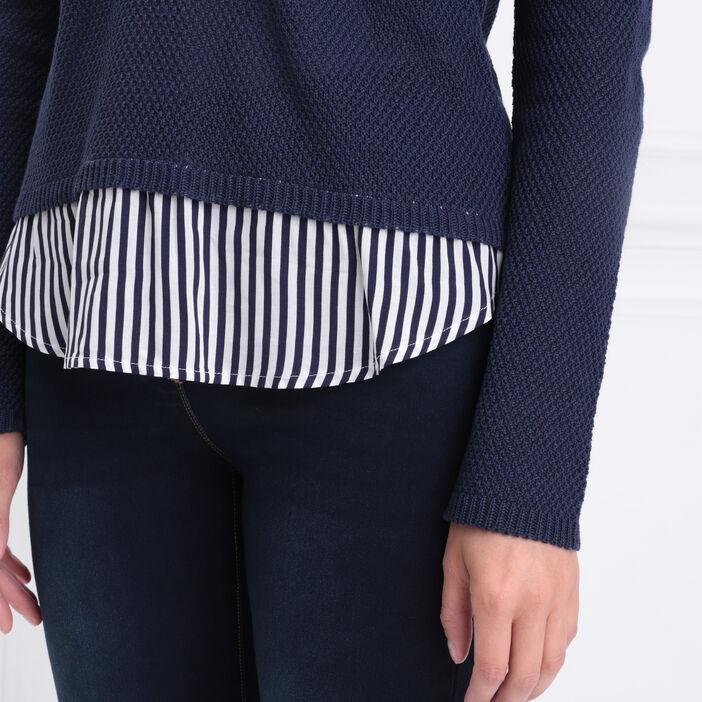 Pull manches longues 2-en-1 bleu marine femme
