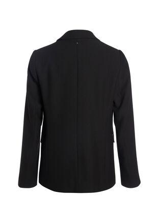 Veste droite col crante noir femme