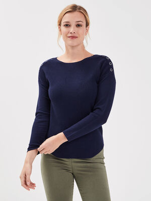 Pull manches longues col rond bleu marine femme