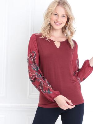 T shirt manches longues bordeaux femme
