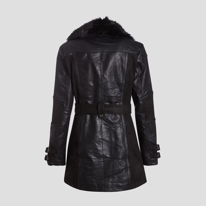 Manteau évasé ceinturé noir femme