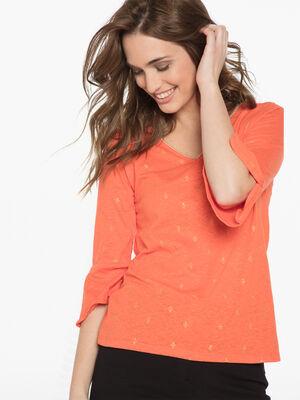 T shirt manches 34 orange femme