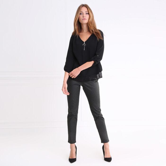Pantalon taille haute coupe ajustée vert canard femme