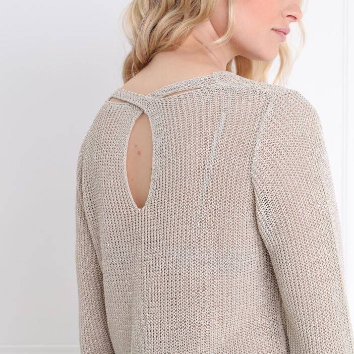 Pull manches 3/4 col rond sable femme