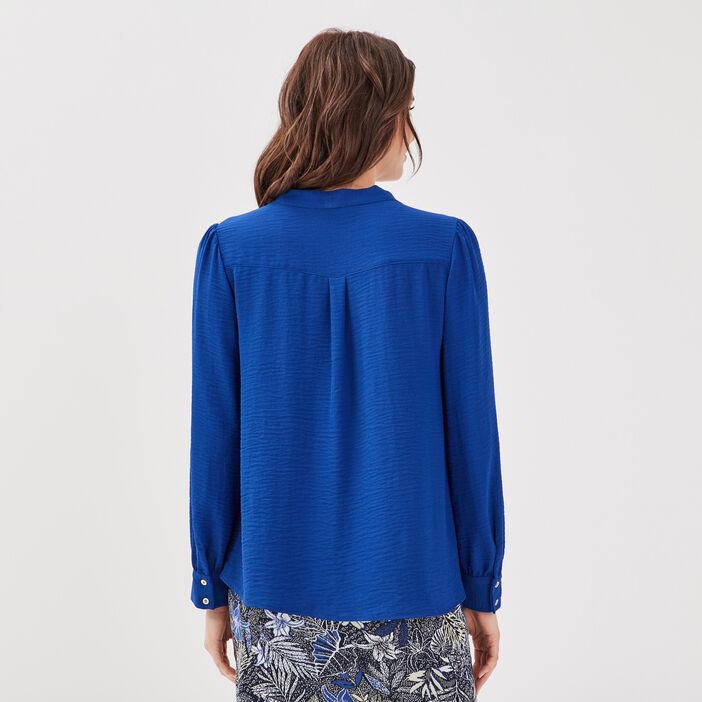 Blouse manches longues bleu electrique femme