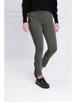 Pantalon ajuste effet pont vert kaki femme