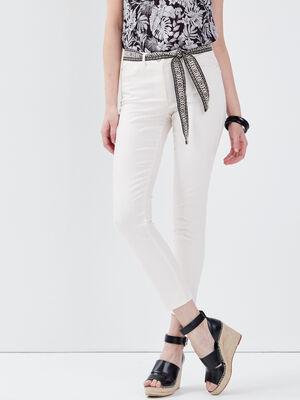 Pantalon ajuste ceinture ecru femme