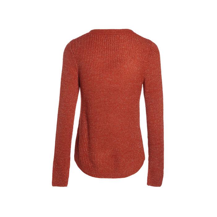 Pull fantaisie à épaules boutonnées orange foncé femme
