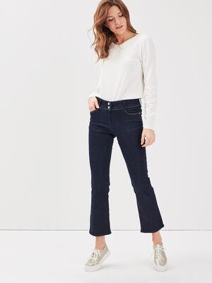 Jeans evase taille basculee denim brut femme