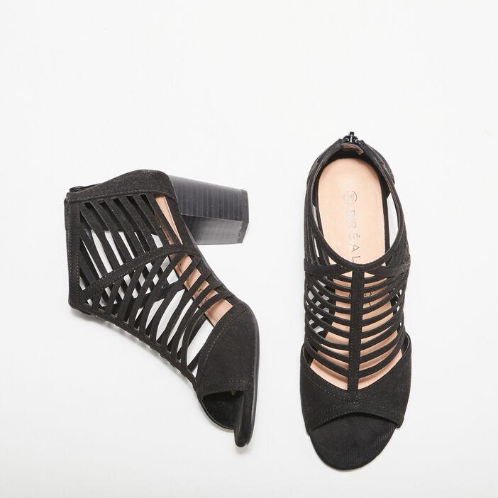 Sandales à talons multibrides noir femme