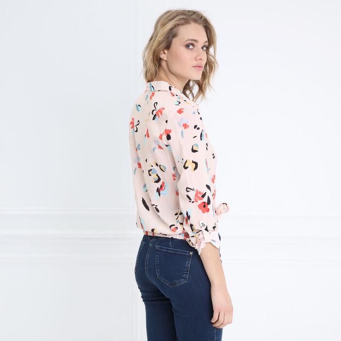 Chemise manches longues nouée rose saumon femme
