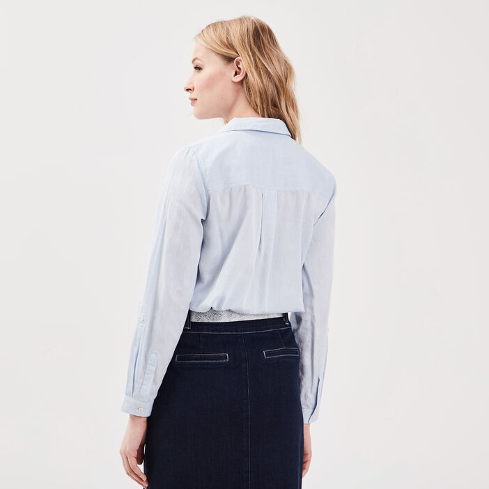 Chemise manches longues bleu gris femme