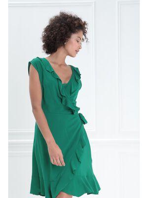 Robe portefeuille a volants vert femme