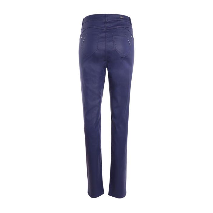Pantalon ajusté taille basculée bleu foncé femme