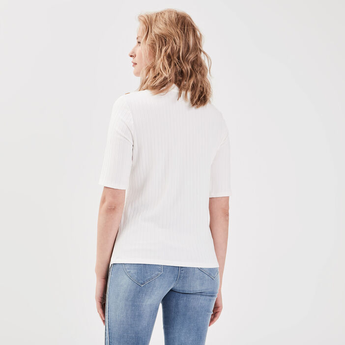 T-shirt manches 3/4 côtelé ecru femme