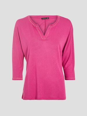 T shirt manches 34 rose fushia femme