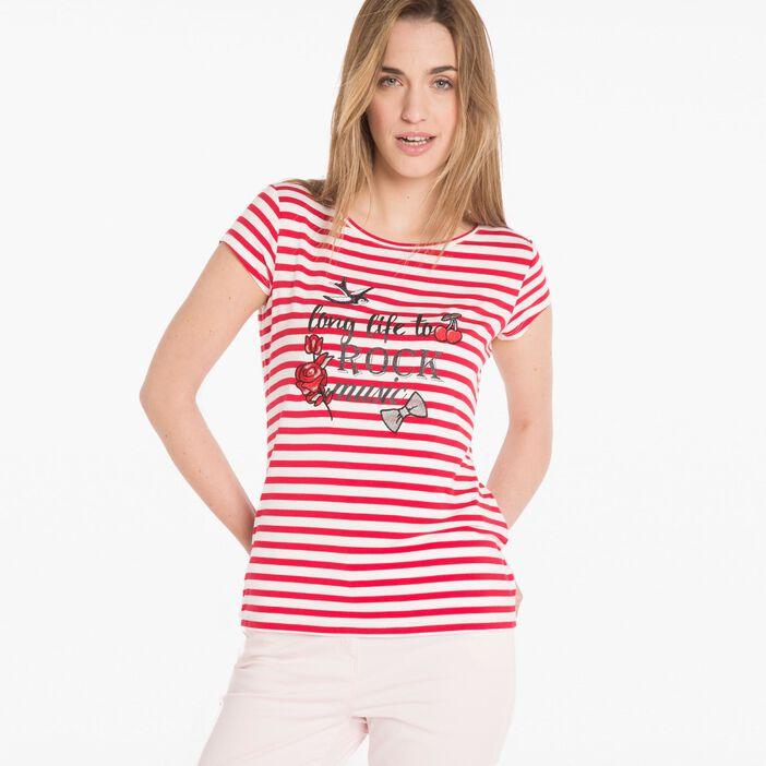 T-shirt manches courtes rayées violet femme