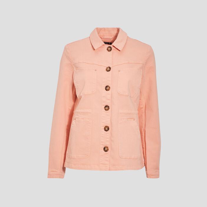Veste droite boutonnée rose clair femme