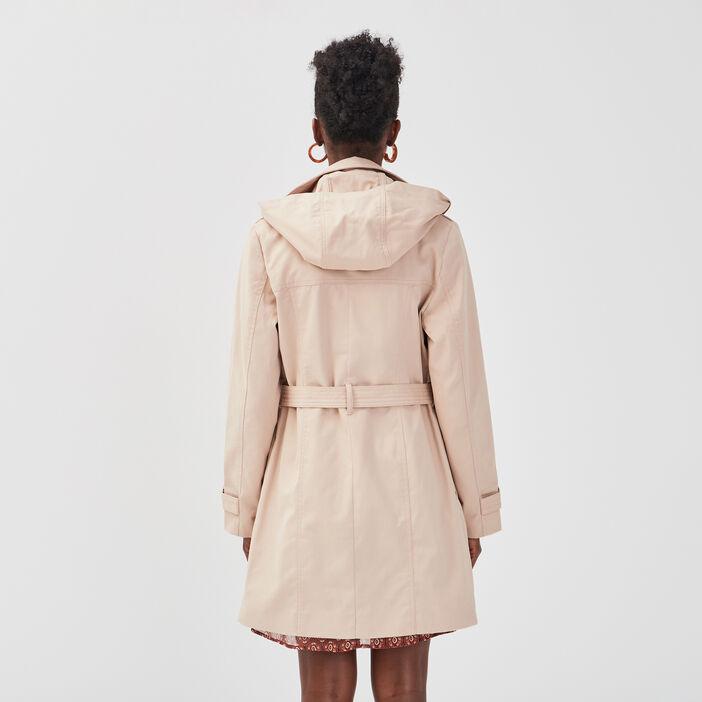 Trench à capuche marron clair femme