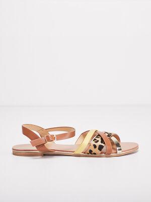 Sandales plates avec brides camel femme