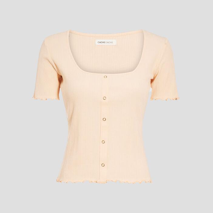 T-shirt manches courtes rose saumon femme