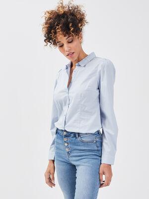 Chemise manches longues bleu pastel femme