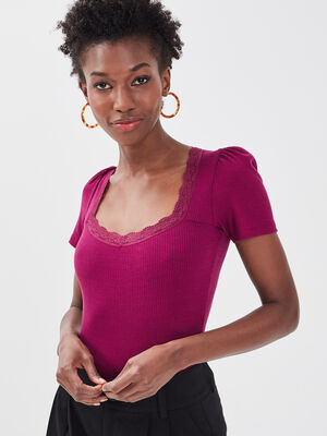 Body manches courtes violet fonce femme