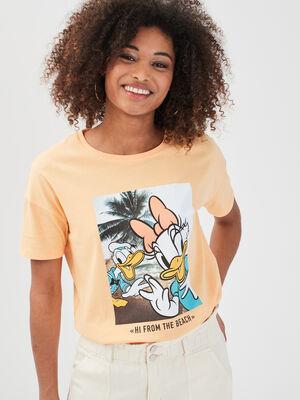 T shirt manches courtes Disney creme femme